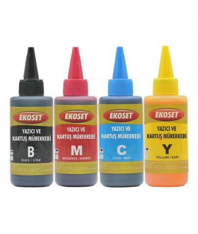 Ekoset Epson L200 L210 L220 L550 L565 uyumlu Mürekkep 4 Renk 4x100ml
