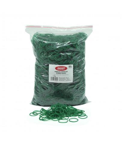 Ekoset Kauçuk Paket Ambalaj Toka Para Lastiği 40mm Yeşil 1Kg