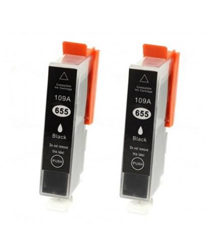 HP 655 uyumlu Siyah Muadil Kartuş 2li Paket Deskjet 3525/4615/4625/5525/6520/6525