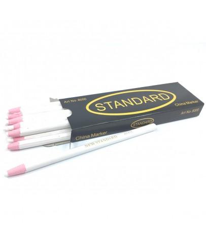 Ekoset İpli Kalem Gres Mumlu kalem China Marker Beyaz 12 adet