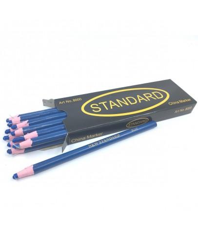 Ekoset İpli Kalem Gres Mumlu kalem China Marker Mavi 12 adet