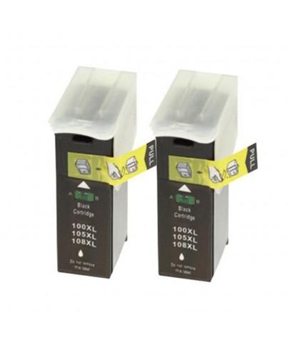 Lexmark 100XL uyumlu Siyah Muadil Kartuş 2li Paket